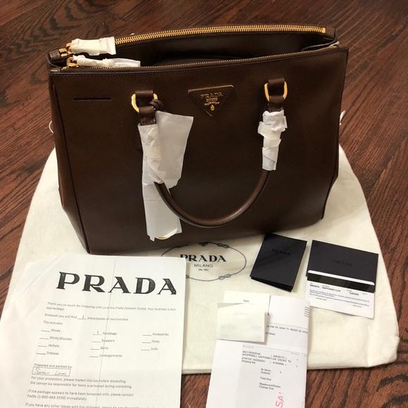 1e013bd65838 Prada Bags | Cacao Leather Saffiano Lux Dbl Zip Tote Bag | Poshmark